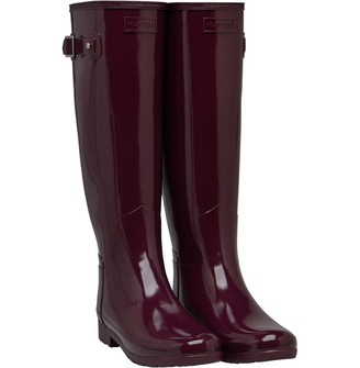 Hunter Womens Refined Gloss Wellington Boots Martian Red