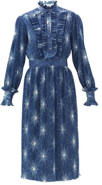 Paco Rabanne Star-print Plisse-chiffon Dress - Blue