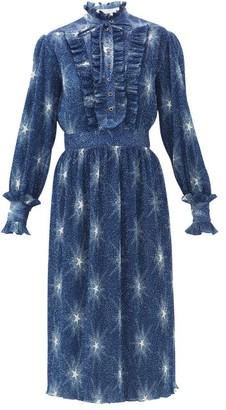 Paco Rabanne Star-print Plisse-chiffon Dress - Womens - Blue
