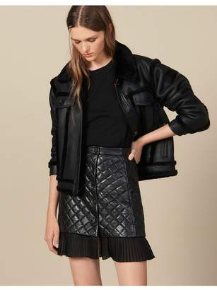 Sandro Short Quilted Leather Skirt