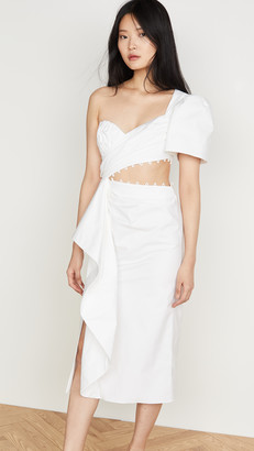 Prabal Gurung Asymmetrical One Shoulder Wrap Dress