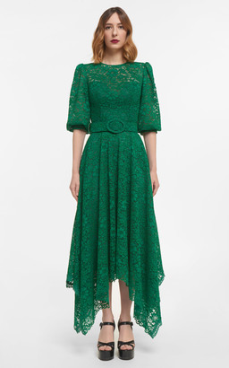 Costarellos Mina Corded Lace Handkerchief Dress With Puff Sleeves & Coordinating Belt