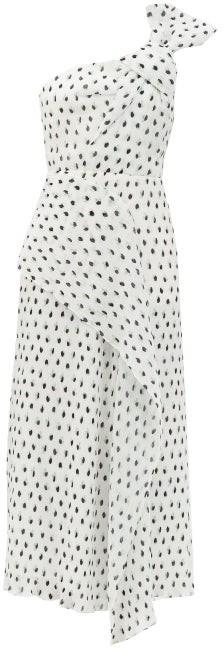 Roland Mouret Giza One-shoulder Polka-dot Chiffon Dress - White Black