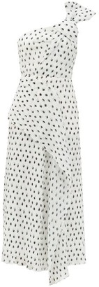 Roland Mouret Giza One-shoulder Polka-dot Chiffon Dress - White Black