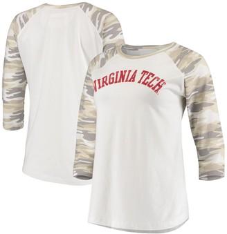 Women's White/Camo Virginia Tech Hokies Boyfriend Baseball Raglan 3/4 Sleeve T-Shirt