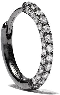 White Bird 18kt black gold Giulia diamond single hoop