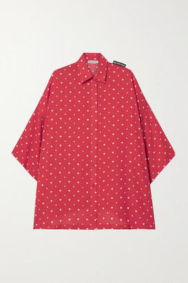 Balenciaga Oversized Printed Crepe Shirt - Red