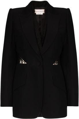 Alexander McQueen lace insert single-breasted blazer