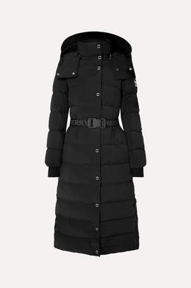 Burberry Belted Faux Shearling-trimmed Hooded Quilted Shell Down Coat - Black