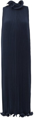 Tibi Ruffled Plisse Midi Dress - Womens - Navy