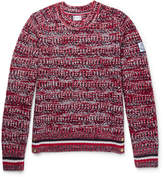 Moncler Gamme Bleu Stripe-Trimmed Mélange Virgin Wool Sweater
