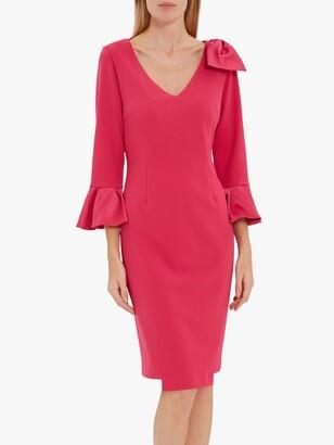 Gina Bacconi Caliana Bow Knee Length Dress, Fuchsia