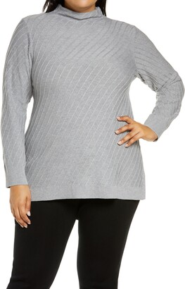 Vince Camuto Mock Neck Cotton Blend Tunic Sweater