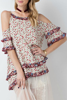 Easel Floral Cold-Shoulder Tunic