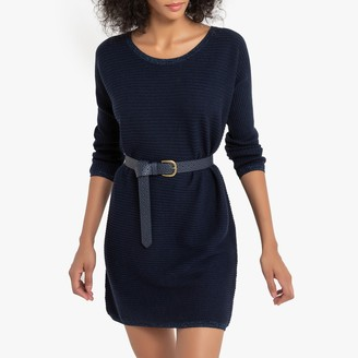 Sud Express Rafaela Ribbed Jumper Dress with Glitter Trim and Long Sleeves