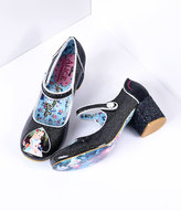 Irregular Choice Black Glitter Tick Tock Alice Heels