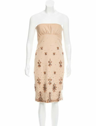 Valentino Embellished Wool-Blend Dress w/ Tags Tan