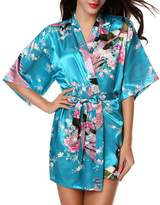 Luxurysmart Peacock Floral Satin Kimono Robe Bridesmaid Robes / Wedding Robe/ Bride Robe Sleepwear Nightgown