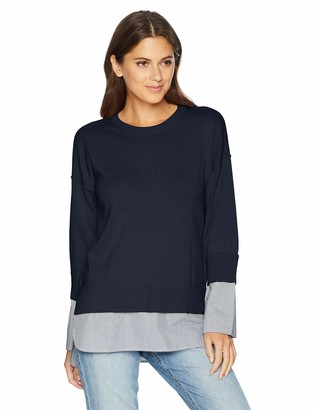 Armani Exchange A|X Women's Long Sleeve Cotton Crew Neck Sweater