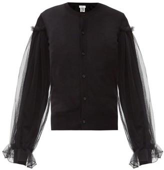 Noir Kei Ninomiya Tulle-sleeve Wool Cardigan - Black