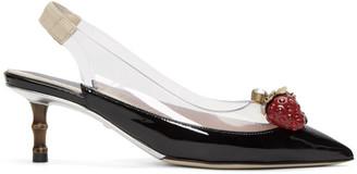 Gucci Black Eleanor Strawberry Plexi Heels