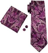 Hi Tie Hi-Tie Men's Vogue Necktie Set Floral Silk Tie with Handkerchief and Cufflinks