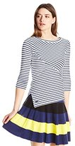 Lacoste Women's 3/4 Sleeve Striped Cotton Knit Shirt