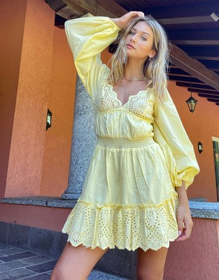 ASOS DESIGN sweetheart broderie mini dress with elasticated waist and long sleeves in yellow