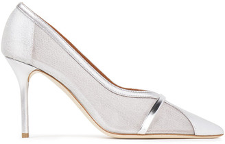 Malone Souliers Brook 85 Mesh And Metallic Leather Pumps