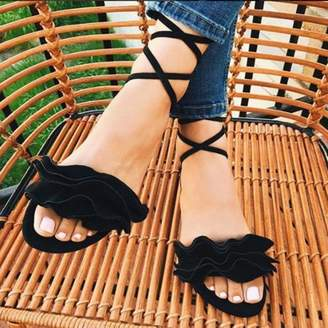 Kadell Meigar Women Gladiator Flat Heels Lace Up Sandals Fashion Women Ankle Strap Shoes