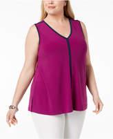 Alfani Plus Size Colorblock V-Neck Top, Created for Macy's