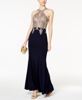 Xscape Evenings Petite Embroidered Halter Gown