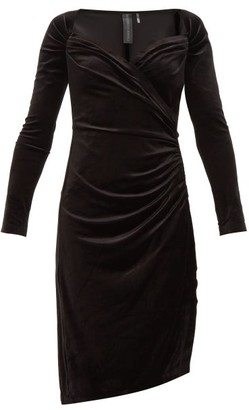 Norma Kamali Sweetheart-neckline Velvet Dress - Womens - Black