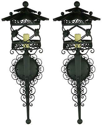 One Kings Lane Vintage French Scrolled Lantern Sconces - Set of 2 - brunelli designs inc - black
