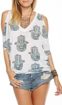 Chaser Cold Shoulder Hamsa Top