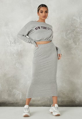 Missguided Grey New York Crop Top And Midi Skirt Co Ord Set