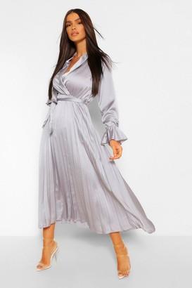 boohoo Satin Pleated Midaxi Dress
