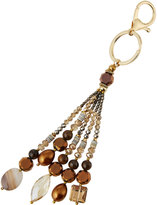 Nakamol Agate & Crystal Beaded Tassel Key Chain, Gold