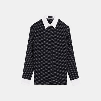 Theory Contrast Straight Shirt in Polka Dot Crepe