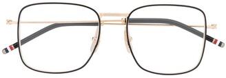 Thom Browne RWB detail square-frame glasses