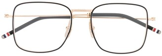Thom Browne Eyewear RWB detail square-frame glasses