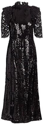 Sea Sequin Lace-Sleeve A-Line Dress