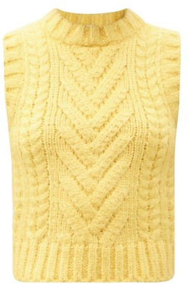 Cecilie Bahnsen Frida Ribbed & Cable-knit Sleeveless Silk Sweater - Yellow