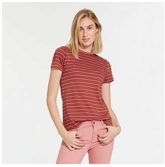 Joe Fresh Women's Stripe Crew Neck Tee, Red (Size XS)