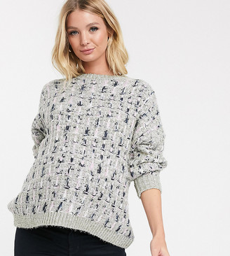 Asos DESIGN Maternity metallic check jumper in tinsel yarn with volume sleeve