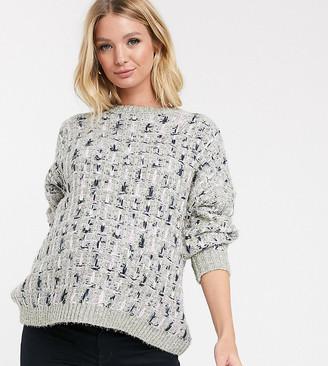 ASOS DESIGN Maternity metallic check jumper in tinsel yarn with volume sleeve
