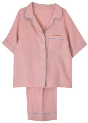 Peachy Pink Linen Short Sleeve Pyjama Trouser Set