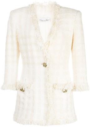 Oscar de la Renta Woven-Check Tweed Blazer