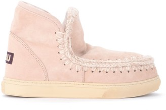 Mou Mini Eskimo Sneaker Ankle Boots In Warm Pink And Beige Sheepskin