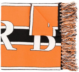 Burberry Black And Orange Logo Knit Cashmere Football Scarf